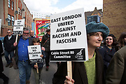 Cable Street 80 march and rally through Whitechapel to mark the 80th anniversary of the Battle of Cable Street on 9th October 2016 in London, United Kingdom. The demonstration marks the day when tens of thousands of people across the East End, joined by others who came to support them, prevented Oswald Mosley's British Union of Fascists invading the Jewish areas of the East End. The day, which is recognised as a major turning point in the struggle against fascism in Britain in the 1930s, became known as the Battle of Cable Street.