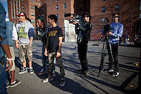 March 8, 2011 NEW YORK - Vice's production team filming a music video with the breaking new Brooklyn rapper, Joey BadA$$, for Noisey, Vice's new YouTube music channel....Photo by Robert Caplin.