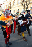 Hungarian Sokácok musicians  on the Tuesdayprocession of the Busojaras Spring  festival 2010 Mohacs Hungary - Stock photos .<br /> <br /> Visit our HUNGARY HISTORIC PLACES PHOTO COLLECTIONS for more photos to download or buy as wall art prints https://funkystock.photoshelter.com/gallery-collection/Pictures-Images-of-Hungary-Photos-of-Hungarian-Historic-Landmark-Sites/C0000Te8AnPgxjRg
