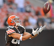 Cleveland Browns' Mike Furrey before a preseason NFL football game against the Tennessee Titans on Saturday, August 29, 2009, at Cleveland Browns Stadium in Cleveland, Ohio. (AP Photo/David Richard)