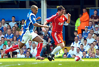 Photo: Ed Godden.<br /> Portsmouth v Liverpool. The Barclays Premiership. 28/04/2007. Liverpool's Robbie Fowler (R) takes the ball forward.