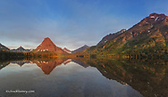 Panoramic of Two Medicine Lake at sunrise of Glacier National Park, Montana, USA