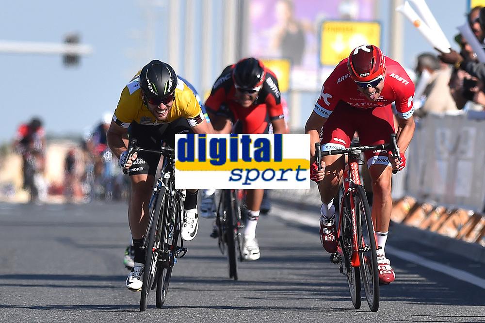 Arrival Sprint, KRISTOFF Alexander (NOR), Mark CAVENDISH (Gbr), VAN AVERMAET Greg (BEL), during the 15th Tour of Qatar 2016, Stage 2, Qatar University - Qatar University (145,5Km), Test Event Doha Road World Championships 2016, on February 9, 2016 - Photo Tim de Waele / DPPI