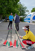Plovdiv, Bulgaria, 9th May 2019, FISA, Rowing World Cup 1,  Final adjustments for the BLR W2X.  [© Peter SPURRIER]