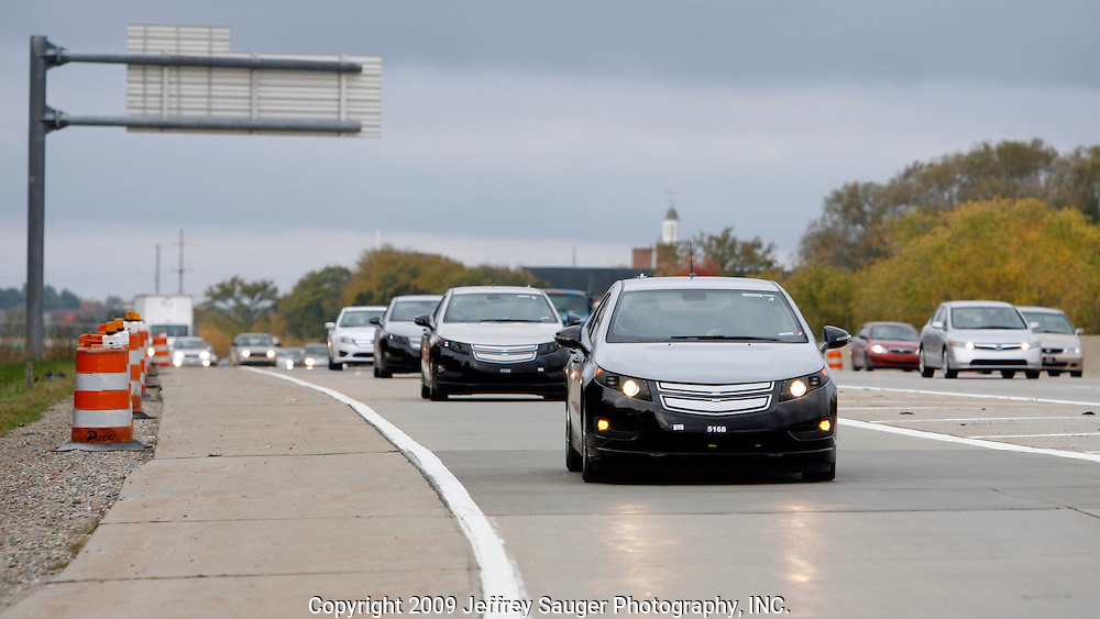 The pre-production Chevrolet Volt engineering test drive exiting I-96 onto Orchard Lake Road in Farmington Hills, Michigan, Tuesday, October 13, 2009.