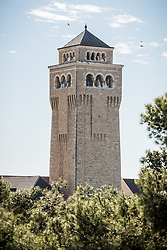 28 February 2020, Jerusalem: Tower of the Augusta Victoria Hospital. The Lutheran World Federation campus, including the Augusta Victoria Hospital campus, is one of few green areas still remaining in East Jerusalem.