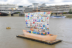 """© Licensed to London News Pictures. 04/09/2019. LONDON, UK. Launch of """"The Ship of Tolerance"""" at Tate Modern, Bankside.  The floating installation by Emilia Kabakov (of Russian conceptual artist duo Ilya and Emilia Kabakov) forms part of Totally Thames Festival and will be moored 4 September to 31 October.  The goal of the artwork is to educate and connect the youth of the world through the language of art.  Photo credit: Stephen Chung/LNP"""