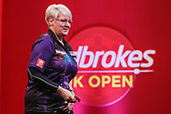 Lisa Ashton wins her first game on television with victory over Aaron Beeney during the Ladbrokes UK Open at Stadium:MK, Milton Keynes, England. UK on 5 March 2021.