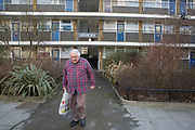 Terence Cooper, Churchill Gardens resident since 1984 on 11th February 2016 in London, United Kingdom. Churchill Gardens is a large housing estate in the Pimlico area of Westminster, London. The estate was developed between 1946 and 1962. Designed by the architects Powell and Moya, it replaced Victorian terraced houses extensively damaged during the Blitz.