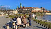 Zakole Wisły pod Wawelem.<br /> The Vistula River near Wawel.