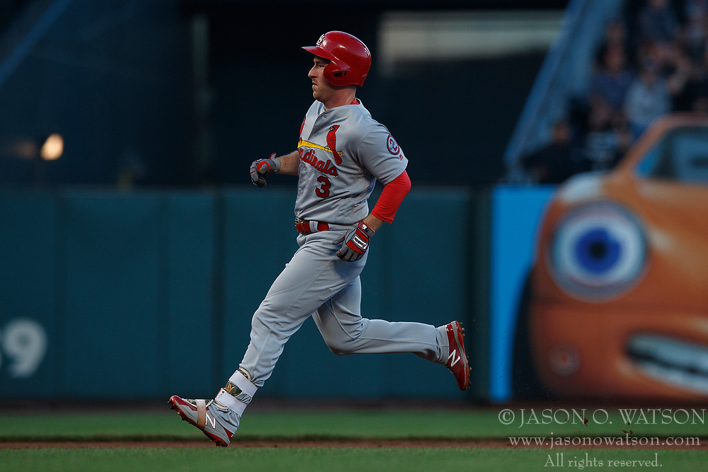 SAN FRANCISCO, CA - JULY 06: Jedd Gyorko #3 of the St. Louis Cardinals runs to third base for a triple against the San Francisco Giants during the second inning at AT&T Park on July 6, 2018 in San Francisco, California. The San Francisco Giants defeated the St. Louis Cardinals 3-2. (Photo by Jason O. Watson/Getty Images) *** Local Caption *** Jedd Gyorko