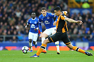 Ross Barkley of Everton passes the ball past Curtis Davies of Hull City. Premier league match, Everton v Hull city at Goodison Park in Liverpool, Merseyside on Saturday 18th March 2017.<br /> pic by Chris Stading, Andrew Orchard sports photography.