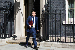 London, UK. 23 July, 2019. Matt Hancock MP, Secretary of State for Health and Social Care, leaves 10 Downing Street following the final Cabinet meeting of Theresa May's Premiership. The name of the new Conservative Party Leader, and so the new Prime Minister, is to be announced at a special event afterwards.