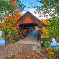 New England Fall Foliage at the Henniker Covered Bridge south of the White Mountains<br />