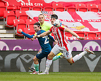 Stoke City's Danny Batth vies for possession with Derby County's Patrick Roberts<br /> <br /> Photographer Lee Parker/CameraSport<br /> <br /> The EFL Sky Bet Championship - Stoke City v Derby County - Saturday 20th March 2021 - bet365 Stadium - Stoke-on-Trent<br /> <br /> World Copyright © 2021 CameraSport. All rights reserved. 43 Linden Ave. Countesthorpe. Leicester. England. LE8 5PG - Tel: +44 (0) 116 277 4147 - admin@camerasport.com - www.camerasport.com