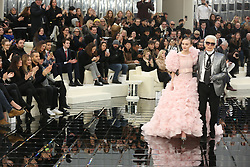 Vanessa Paradis watches her daughter Lily-Rose Depp and designer Karl Lagerfeld walking on the runway during the Chanel Haute Couture Spring Summer 2017 shows as part of Paris Fashion Week on January 24, 2017 in Paris, France. Photo by ABACAPRESS.COM  | 579504_008 Paris France