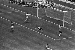 21 June 1970 - FIFA World Cup Final - Brazil v Italy - Brazil captain Carlos Alberto (4) runs off to celebrate scoring Brazils fourth and final goal.