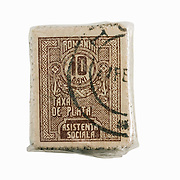 Stamps held by rubber band from