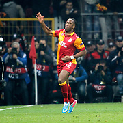 Galatasaray's Tebily Didier Yves Drogba celebrate his goal during their UEFA Champions League Quarter-finals, Second leg match Galatasaray between Real Madrid at the TT Arena AliSamiYen Spor Kompleksi in Istanbul, Turkey on Tuesday 09 April 2013. Photo by Aykut AKICI/TURKPIX
