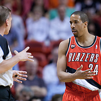 08 March 2011: Portland Trail Blazers point guard Andre Miller (24) talks to a referee during the Portland Trail Blazers 105-96 victory over the Miami Heat at the AmericanAirlines Arena, Miami, Florida, USA.