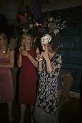 Jan de Villeneuve and Daisy de Villeneuve, Stephen Jones Summer Hat party to celebrate 25 years of Milllinery. Debenham House, 8 Addison Rd. Holland Park, London. 13 July 2006.  ONE TIME USE ONLY - DO NOT ARCHIVE  © Copyright Photograph by Dafydd Jones 66 Stockwell Park Rd. London SW9 0DA Tel 020 7733 0108 www.dafjones.com