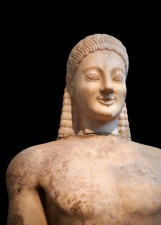 Parian marble Ancient Greek Archaic statue of a kouros, found in Volomandra, Attica. Circa 560-550 BC, Athens National Archaeological Museum. Cat no 1906.  Against black<br /> <br /> Probably from the grave of an athenian aristocrat .<br /> <br /> If you prefer to buy from our ALAMY STOCK LIBRARY page at https://www.alamy.com/portfolio/paul-williams-funkystock/greco-roman-sculptures.html . Type -    Athens    - into LOWER SEARCH WITHIN GALLERY box - Refine search by adding a subject, place, background colour, etc.<br /> <br /> Visit our ROMAN WORLD PHOTO COLLECTIONS for more photos to download or buy as wall art prints https://funkystock.photoshelter.com/gallery-collection/The-Romans-Art-Artefacts-Antiquities-Historic-Sites-Pictures-Images/C0000r2uLJJo9_s0