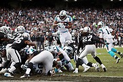 Carolina Panthers running back Jonathan Stewart (28) leaps over a pile of players as he tried diving for a touchdown that gets stopped by the defense during the 2016 NFL week 12 regular season football game against the Oakland Raiders on Sunday, Nov. 27, 2016 in Oakland, Calif. The Raiders won the game 35-32. (©Paul Anthony Spinelli)