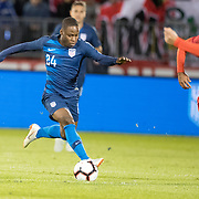 EAST HARTFORD, CONNECTICUT- October 16th:  Jonathan Amon #24 of the United States in action during the United States Vs Peru International Friendly soccer match at Pratt & Whitney Stadium, Rentschler Field on October 16th 2018 in East Hartford, Connecticut. (Photo by Tim Clayton/Corbis via Getty Images)
