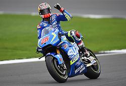 Suzuki's Maverick Vinales celebrates winning the 2016 Octo British Grand Prix at Silverstone, Northamptonshire.