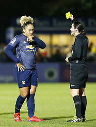February 7, 2019 - London, England, United Kingdom - Lauren James of Manchester United Women  gets a yellow card.during FA Continental Tyres Cup Semi-Final match between Arsenal and Manchester United Women FC at Boredom Wood on 7 February 2019 in Borehamwood, England, UK. (Credit Image: © Action Foto Sport/NurPhoto via ZUMA Press)