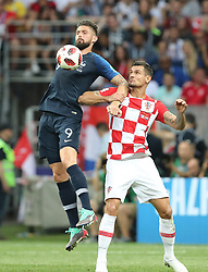 MOSCOW, July 15, 2018  Olivier Giroud (L) of France vies with Dejan Lovren of Croatia during the 2018 FIFA World Cup final match between France and Croatia in Moscow, Russia, July 15, 2018. (Credit Image: © Yang Lei/Xinhua via ZUMA Wire)