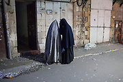 "Two women from ""Neshot Ha Shalim"" or Haredi Burqa Sect an extreme religious group within the Ultra Orthodox Jewish community   Jerusalem"