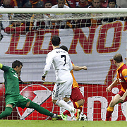 Real Madrid's Cristiano Ronaldo (C) scores during their UEFA Champions League Quarter-finals, Second leg match Galatasaray between Real Madrid at the TT Arena AliSamiYen Spor Kompleksi in Istanbul, Turkey on Tuesday 09 April 2013. Photo by Aykut AKICI/TURKPIX