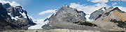 Panoramic view of Athabasca Glacier and the area around it; Icefields Parkway, Jasper National Park, Alberta, Canada