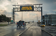 """""""Prayers for Steve Scalise"""", message over the entrance to the The Causeway Bridge in June 15, 2017 House Majority Whip Steve Scalise remains in critical condition after being shot at baseball practice. The bridge connects Metairie Louisiana to Mandeville  -"""