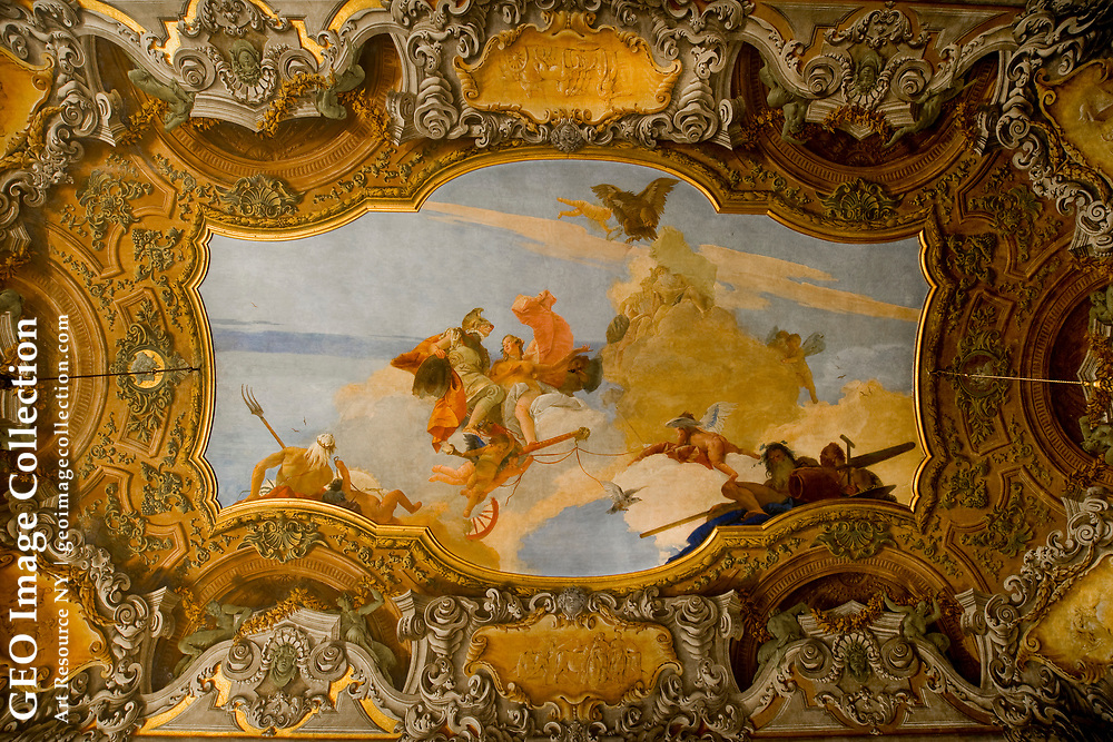 The Jacopo Tintoretto ceiling at Plazzo Pisa.