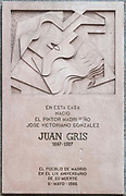 Plaque on the house of birth of Spanish Cubist painter and sculptor JUAN GRIS aka José Victoriano González-Pérez central Madrid Spain