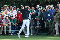 April 8, 2018 - Augusta, GA, USA - Jordan Spieth tees off on 16 during the final round of the Masters at Augusta National Golf Club on Sunday, April 8, 2018, in Augusta, Ga. (Credit Image: © Jason Getz/TNS via ZUMA Wire)