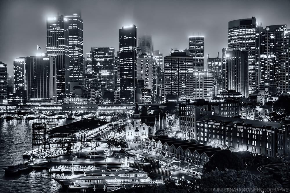 Foggy Sydney Skyline from Harbour Bridge (monochrome)