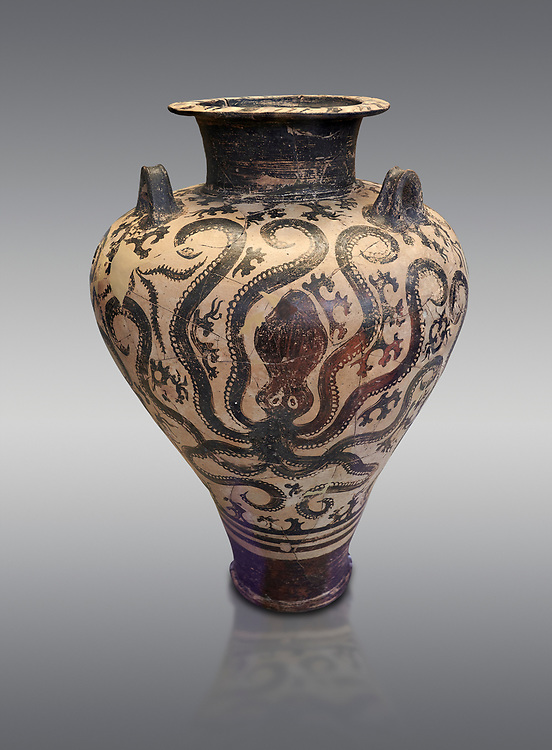 Three handled Palace Style Mycenaean amphora with octpuses and marinescape decorations motifs, Mycenaean cemetery, Argive Prosymna, tomb 2, 15 cnt BC, National Archaeological Museum Athens. Cat no 6725. <br /> <br /> This Mycenaean vase is an imitation of the Minoan Marine Style .<br /> <br /> If you prefer to buy from our ALAMY PHOTO LIBRARY  Collection visit : https://www.alamy.com/portfolio/paul-williams-funkystock/mycenaean-art-artefacts.html . Type -   Athens    - into the LOWER SEARCH WITHIN GALLERY box. Refine search by adding background colour, place, museum etc<br /> <br /> Visit our MYCENAEN ART PHOTO COLLECTIONS for more photos to download  as wall art prints https://funkystock.photoshelter.com/gallery-collection/Pictures-Images-of-Ancient-Mycenaean-Art-Artefacts-Archaeology-Sites/C0000xRC5WLQcbhQ