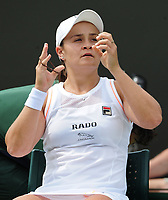 Tennis - 2019 Wimbledon Championships - Week Two, Monday (Day Seven)<br /> <br /> Women's Singles, Fourth Round: Ashleigh Barty (AUS) v Alison Riske (USA)<br /> <br />  Ashleigh Barty sees the match slipping away, on Court 2.<br /> <br /> COLORSPORT/ANDREW COWIE