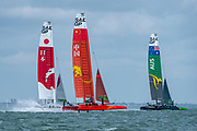 SailGP Team Australia Follwed by Teams China and Japan after the start of race two. Race Day. Event 4 Season 1 SailGP event in Cowes, Isle of Wight, England, United Kingdom. 11 August 2019: Photo Chris Cameron for SailGP. Handout image supplied by SailGP