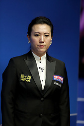 Snooker referee Peggy Li during day one of the 2018 Betfred World Championship at The Crucible, Sheffield. PRESS ASSOCIATION Photo. Picture date: Saturday April 21, 2018. See PA story SNOOKER World. Photo credit should read: Richard Sellers/PA Wire.