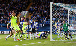 The Sheffield Wednesday and Brighton & Hove Albion players watch on as a header rebounds off the post - Mandatory by-line: Robbie Stephenson/JMP - 13/05/2016 - FOOTBALL - Hillsborough - Sheffield, England - Sheffield Wednesday v Brighton and Hove Albion - Sky Bet Championship Play-off Semi Final first leg
