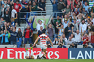 Japan's Full Back Ayumu Goromaru with a try during the Rugby World Cup Pool B match between South Africa and Japan at the Community Stadium, Brighton and Hove, England on 19 September 2015. Photo by Phil Duncan.