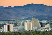 The skyline of downtown Reno Nevada at sunset.