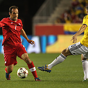 Pedro Pacheco DeMelo, Canada, in action during the Columbia Vs Canada friendly international football match at Red Bull Arena, Harrison, New Jersey. USA. 14th October 2014. Photo Tim Clayton