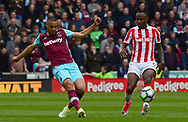 Sofiane Feghouli of West Ham in action. Premier league match, Stoke City v West Ham Utd at the Bet365 Stadium in Stoke on Trent, Staffs on Saturday 29th April 2017.<br /> pic by Bradley Collyer, Andrew Orchard sports photography.