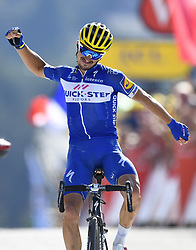 July 17, 2018 - Le Grand Bornand, France - JULIAN ALAPHILIPPE (FRA) of Quick - Step Floors celebrates the win during stage 10 of the 105th edition of the 2018 Tour de France cycling race, a stage of 158.5 kms between Annecy and Le Grand-Bornand in Le Grand-Bornand, France.  (Credit Image: © Panoramic via ZUMA Press)
