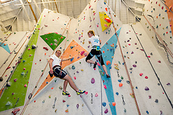 Pictured: Scott Griffin (year two) and Becky Price (year four) get in some last minute training<br /> <br /> Medical students from The University of Edinburgh are to study the impact on the body of low oxygen levels found at altitude during a visit to the Bolivian Andes. They were to be put through their paces in a climbing wall training session at the University's Centre for Sport and Exercise.<br /> Ger Harley | EEm 25 April 2017